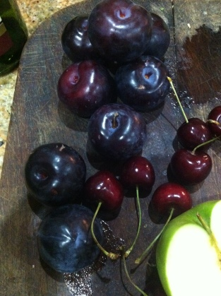 Plumbs and cherries for red sangria: There's your 5 a day right there!